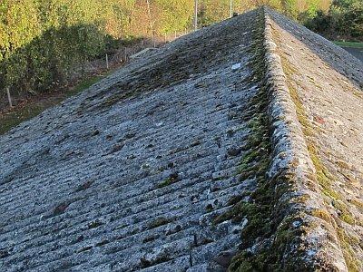 очистка крыши из шифера сильно загрязненный